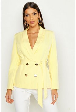 Womens Yellow Belted Button Tailored Blazer