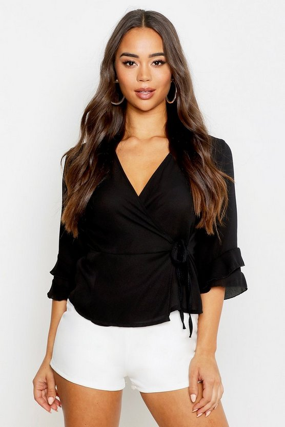 Womens Black Ruffle Sleeve Hammered Satin Wrap Top