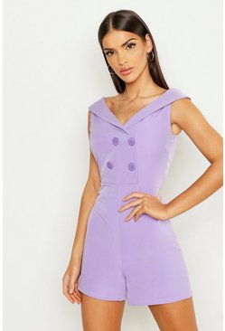 Womens Lilac Bardot Double Breasted Playsuit
