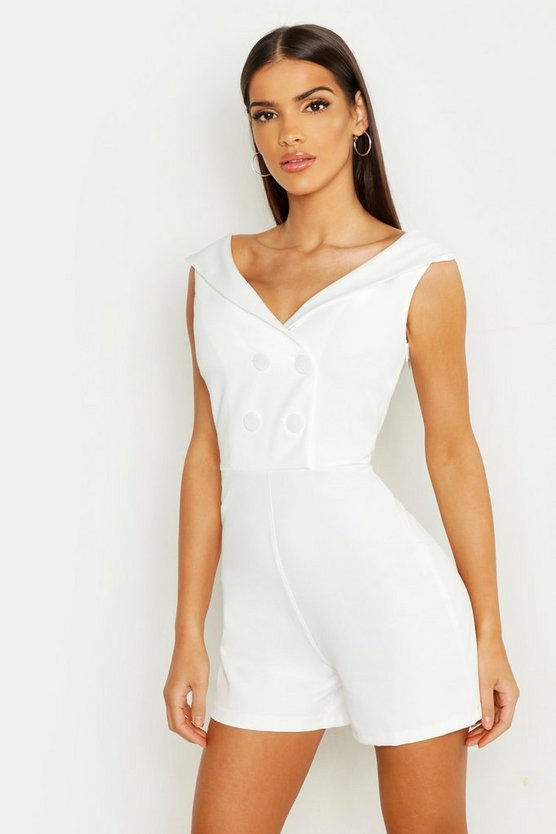 White Bardot Double Breasted Playsuit