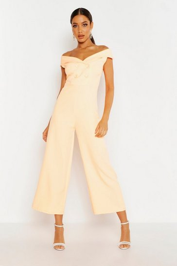 Womens Apricot Bardot Tailored Double Breasted Jumpsuit