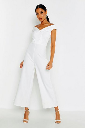 Womens White Bardot Tailored Double Breasted Jumpsuit