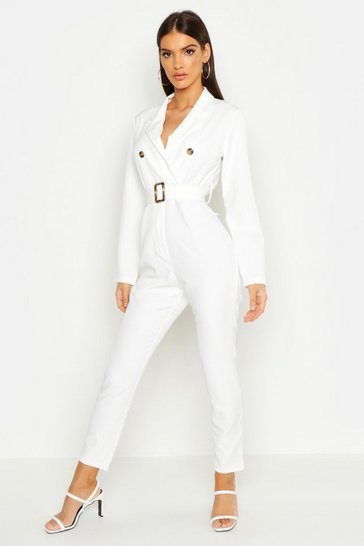 Womens Ivory Belted Double Breasted Jumpsuit