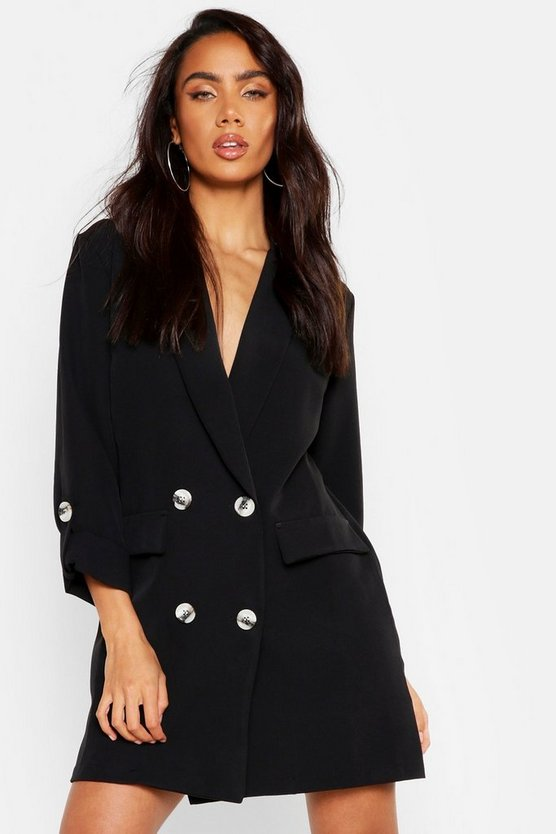 Womens Turn Up Sleeve Blazer Dress