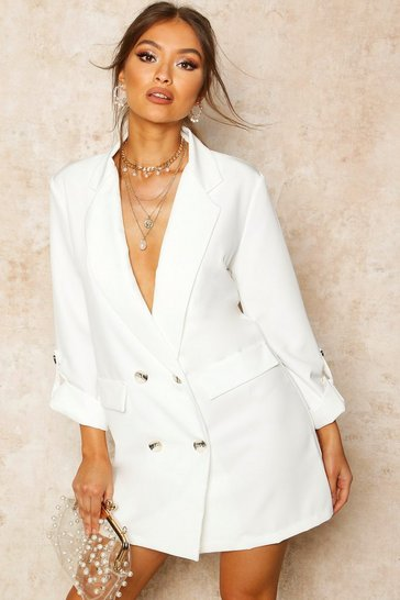 Womens Ivory Turn Up Sleeve Blazer Dress