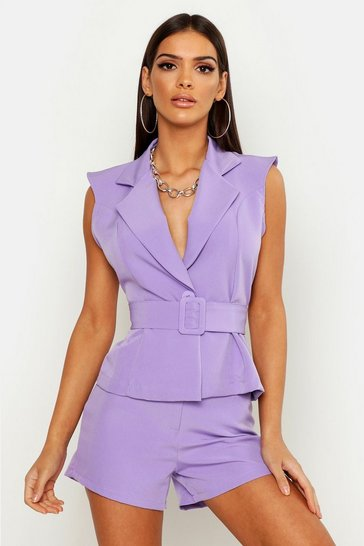 Womens Lilac Sleeveless Belted Blazer