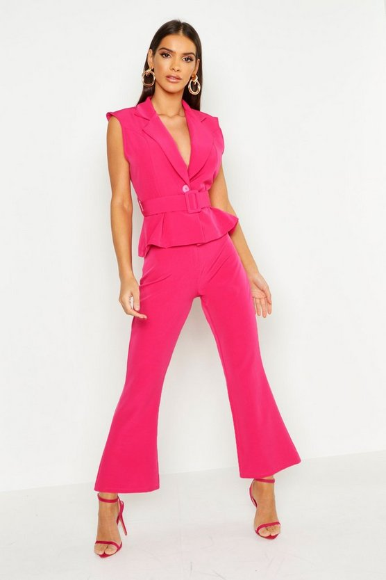 Womens Hot pink Tailored Straight Leg Trouser