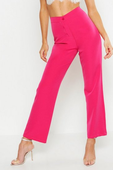 Womens Pink Wide Leg Trousers