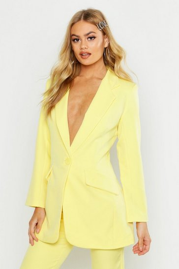 Womens Lemon Single Breasted Tailored Blazer