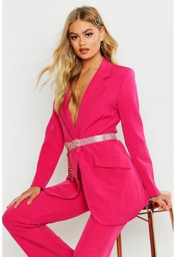 Womens Pink Single Breasted Tailored Blazer