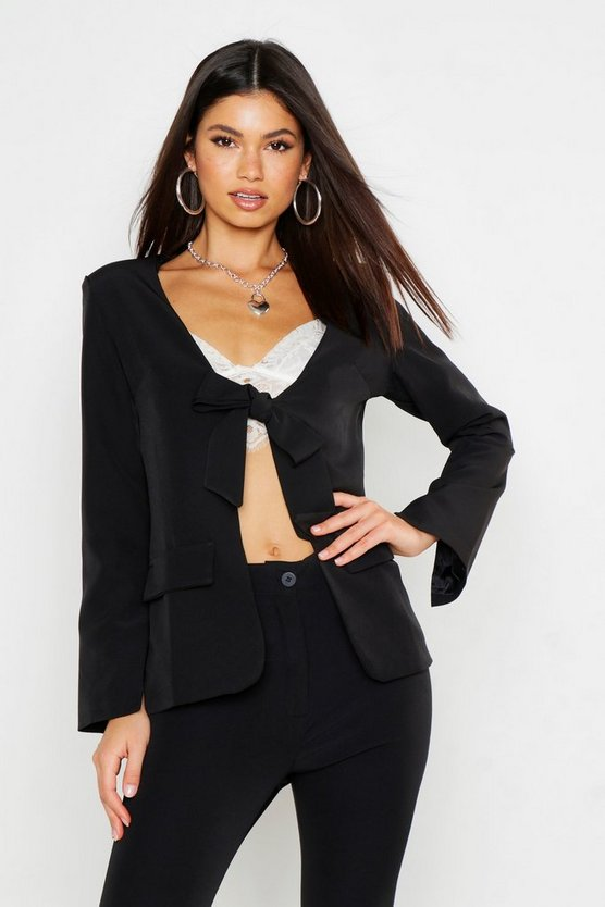 Womens Black Tie Front Tailored Blazer
