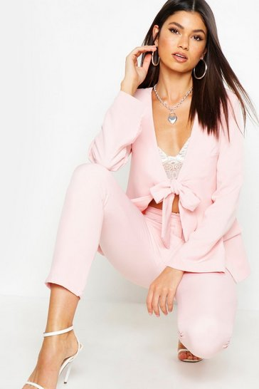 Womens Blush Tie Front Tailored Blazer