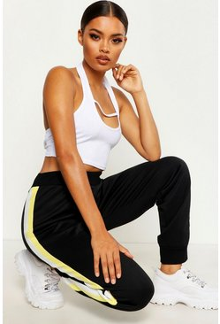Womens Black Colour Block Side Stripe Joggers