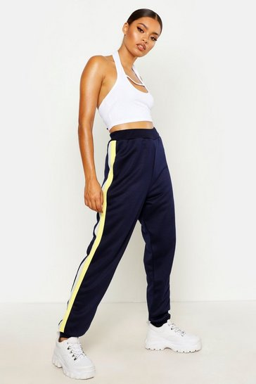 Womens Navy Colour Block Side Stripe Joggers