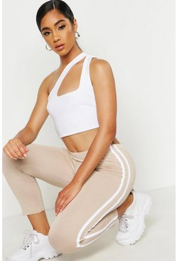 Womens Stone Cropped 3/4 Sports Stripe Leggings