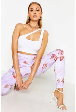 Womens Lilac Angel Print Ribbed Leggings