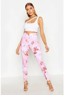 Womens Pink Angel Print Ribbed Leggings