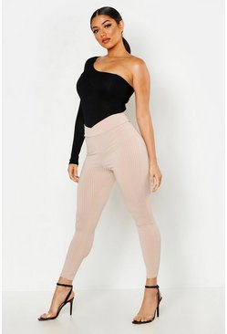 Womens Mocha Wrap Front Ribbed Leggings
