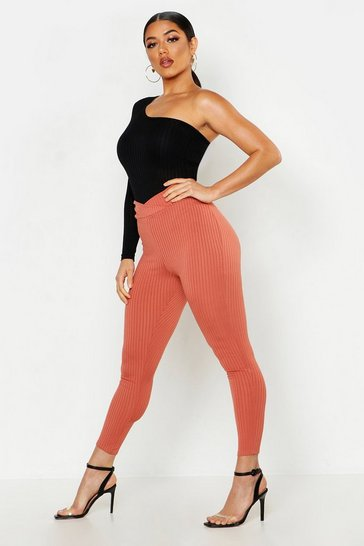 Womens Terracotta Wrap Front Ribbed Leggings