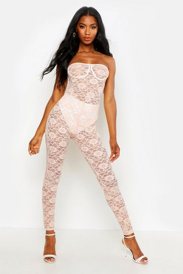 Womens Nude Lace Cupped Bandeau Jumpsuit