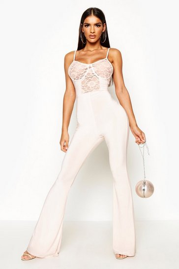 Womens Nude Lace Insert Cupped Flare Jumpsuit