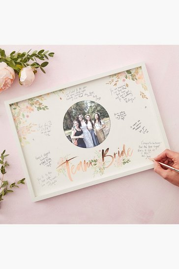 Womens White Floral Hen Guest Book Frame
