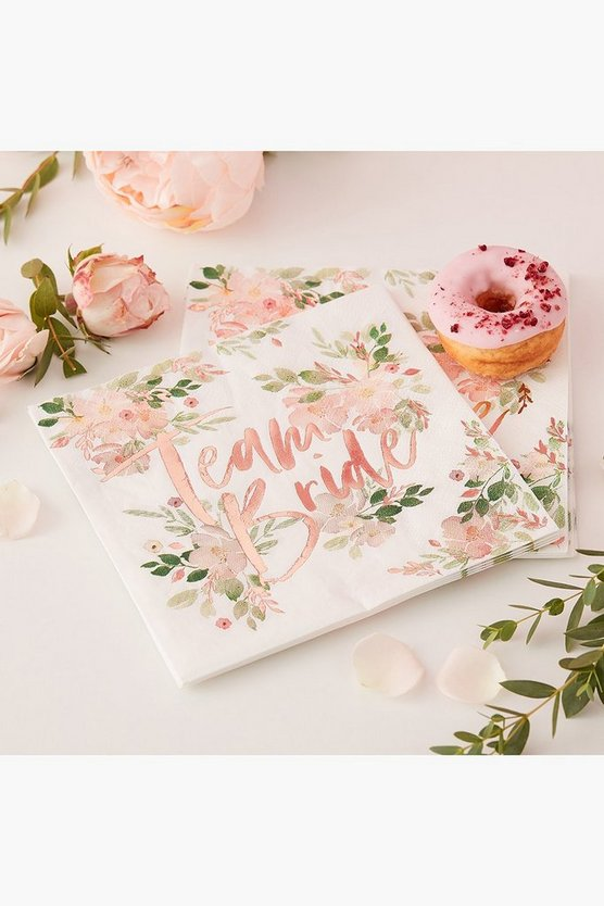 Womens Multi Floral Team Bride Napkin