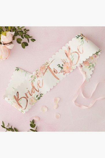 Womens Multi Floral Bride To Be Sash