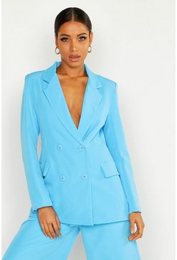 Womens Blue Double Breasted Oversized Blazer