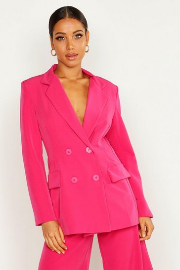 Womens Pink Double Breasted Oversized Blazer