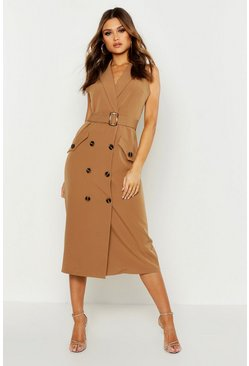 Womens Camel Sleeveless Double Breasted Midi Dress