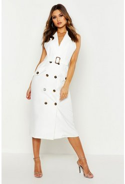 Womens Ivory Sleeveless Double Breasted Midi Dress