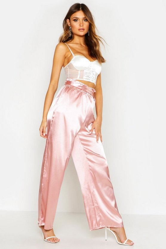Womens Rose Paper Bag Wide Leg Belted Trousers