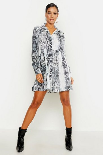 Womens Grey Snake Print Shirt Smock Dress