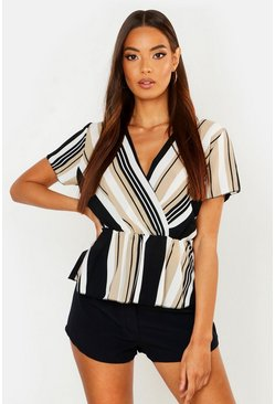 Womens Taupe Stripe Wrap Front Peplum Blouse