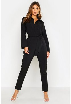 Womens Black Belted Utility Jumpsuit