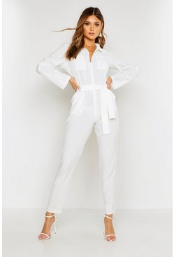 Womens Ivory Belted Utility Jumpsuit