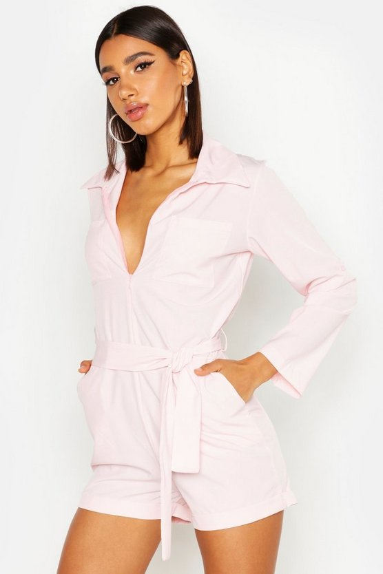 Womens Pink Pocket Detail Belted Playsuit