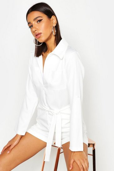 Womens White Pocket Detail Belted Playsuit