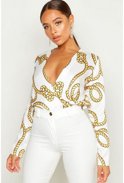Ivory Rope Print Long Sleeve Bodysuit