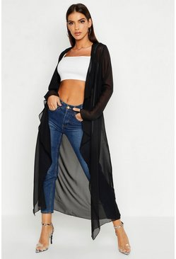 Womens Black Chiffon Waterfall Front Jacket