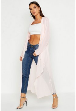 Womens Nude Chiffon Waterfall Front Jacket