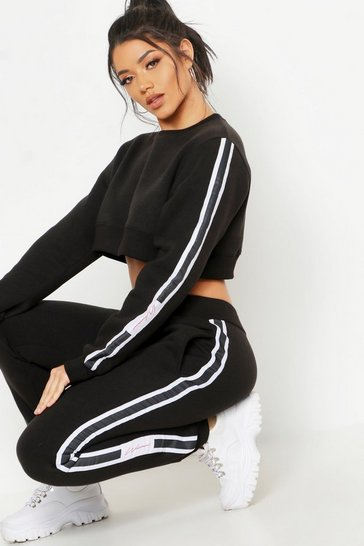 Womens Black Cropped Woman Sweater & Jogger Tracksuit