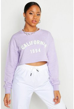 Womens Lilac California Slogan Cropped Sweatshirt