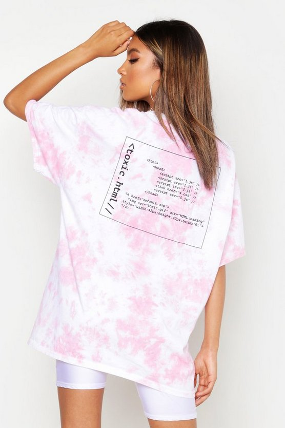 Womens Coral Tie Dye Graphic Oversized T-Shirt