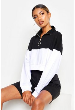 Sweat court à demi-zip color block, Blanc, Femme