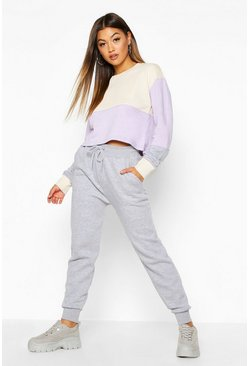 Womens Lilac Colour Block Cropped Sweatshirt