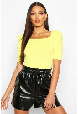 Womens Yellow Puff Sleeve Square Neck Knitted Top