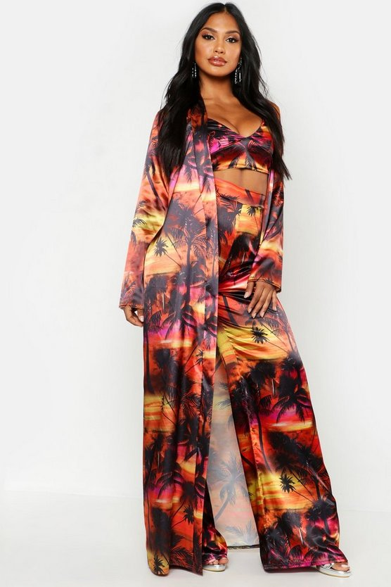 Womens Black Tropical Print Satin Duster