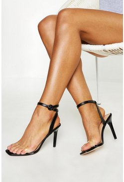 Womens Black Clear Strap 2 Part Stiletto Heels